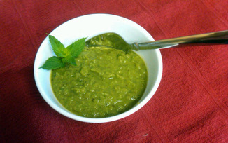 Garden Fresh Savory Herb Pea Soup