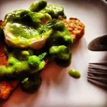  Something Toasted with Minted Peas, Broad Beans and Goats Cheese