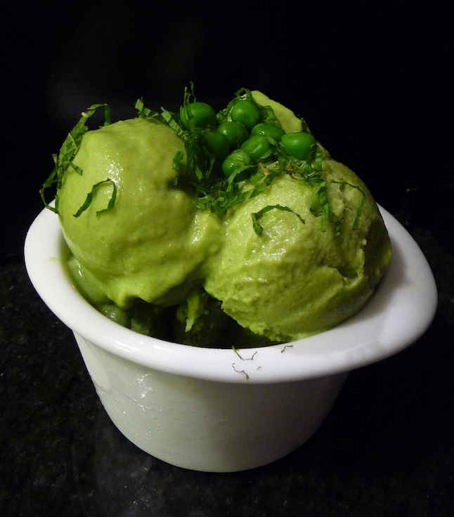 Fresh Mint and Spring Peas Ice Cream 