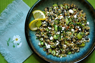 Wheatberry &amp; Wild Rice Salad with Favas &amp; Fried Seeds