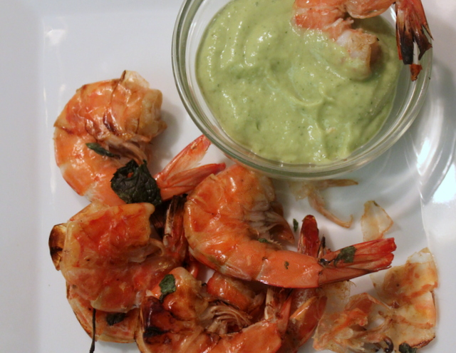 Cocktail Shrimp with Spicy Mint-Avocado Dipping Sauce