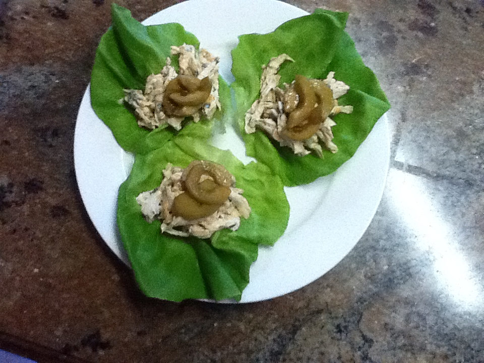 Vietnamese Flavored Chicken Salad Lettuce Wraps with Spicy Cucumbers