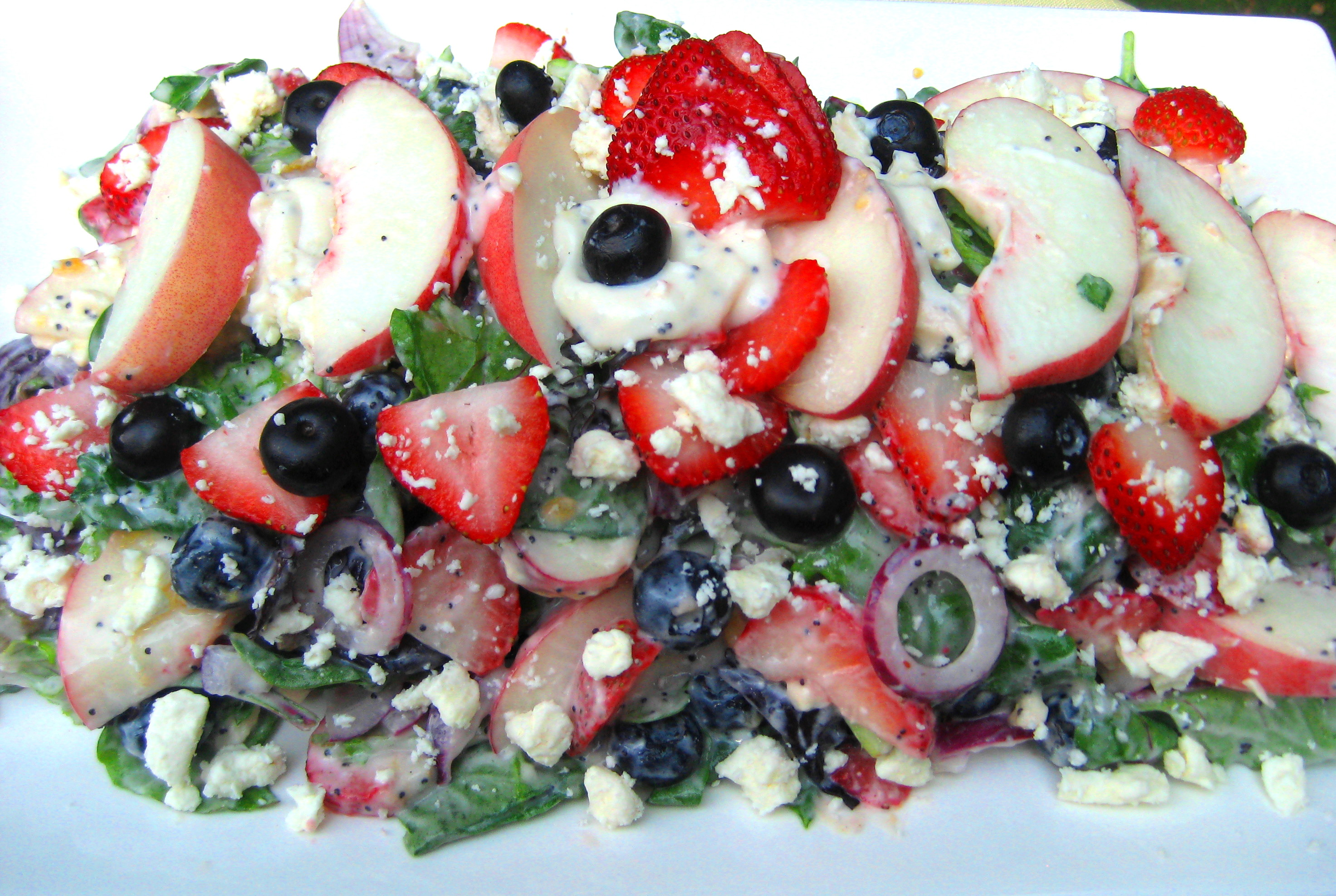 Peaches 'n Berries, Red Onion, Feta  Greens with Creamy Poppy Seed  Dressing