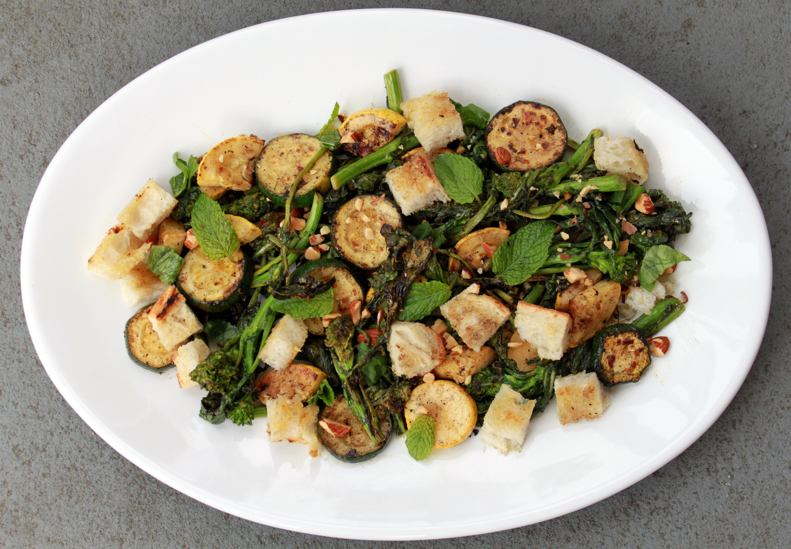Grilled Bread Salad with Broccoli Rabe and Summer Squash