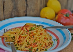 Pasta with Raw Tomatoes &amp; Lemon Infused Olive Oil