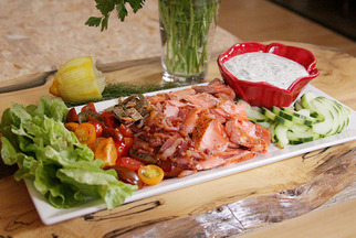 BLT Salmon Salad with Herbed Dressing
