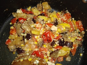 Quick Stove Top Ratatouille with Feta