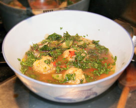 Chicken and Plantain Dumpling Soup (Caldo de Bolas)