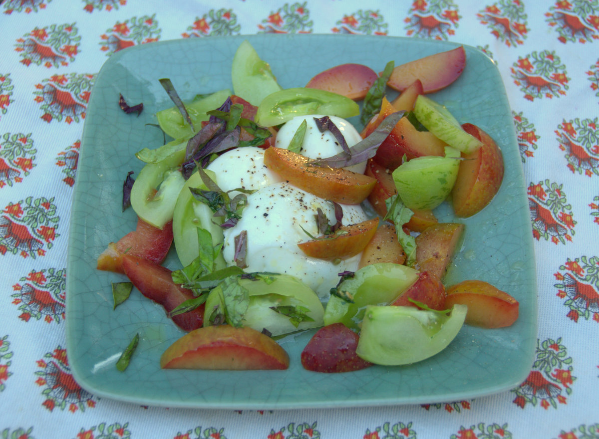 Pluot, Green Tomato and Mozzarella Salad