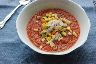 Gazpacho with Peaches and Jalapeno