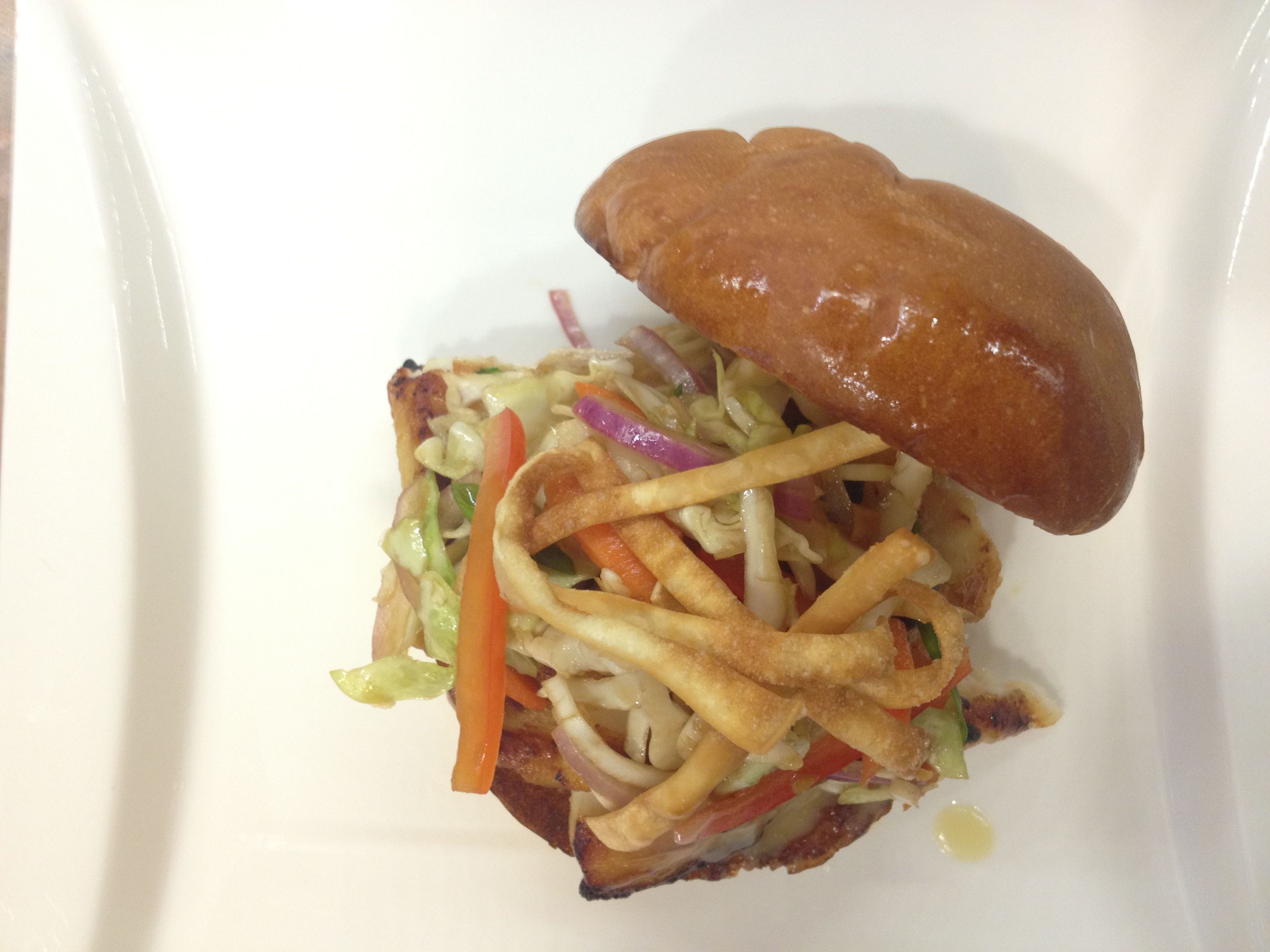 Grilled Miso-Glazed Fish Sandwich with Asian Slaw &amp; Miso Dressing