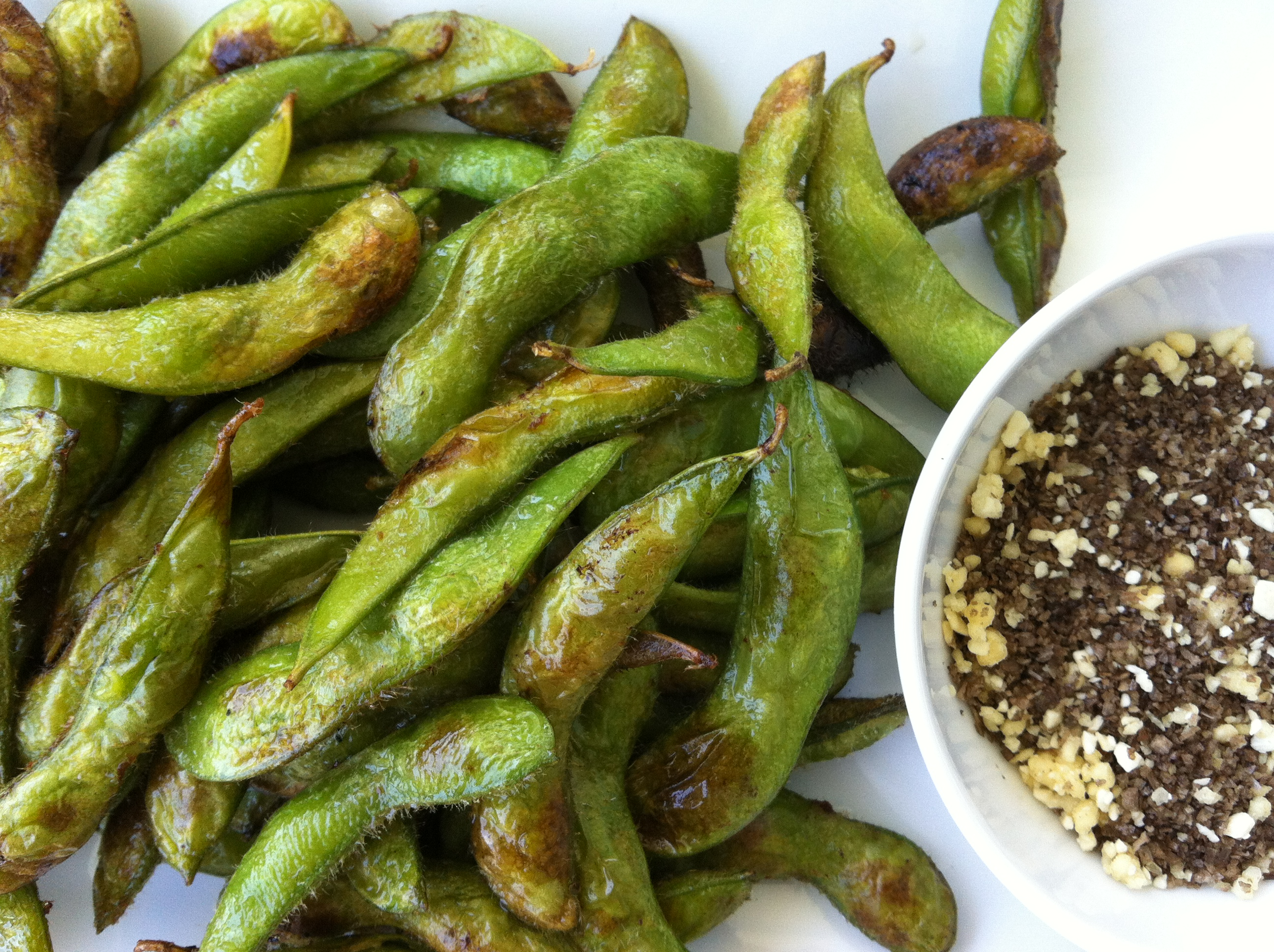 Charred Edamame with Smoked Salt and Pop Rocks