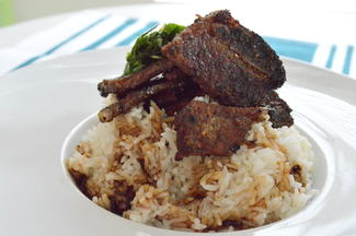Korean BBQ ribs, white rice, dill and chives salad