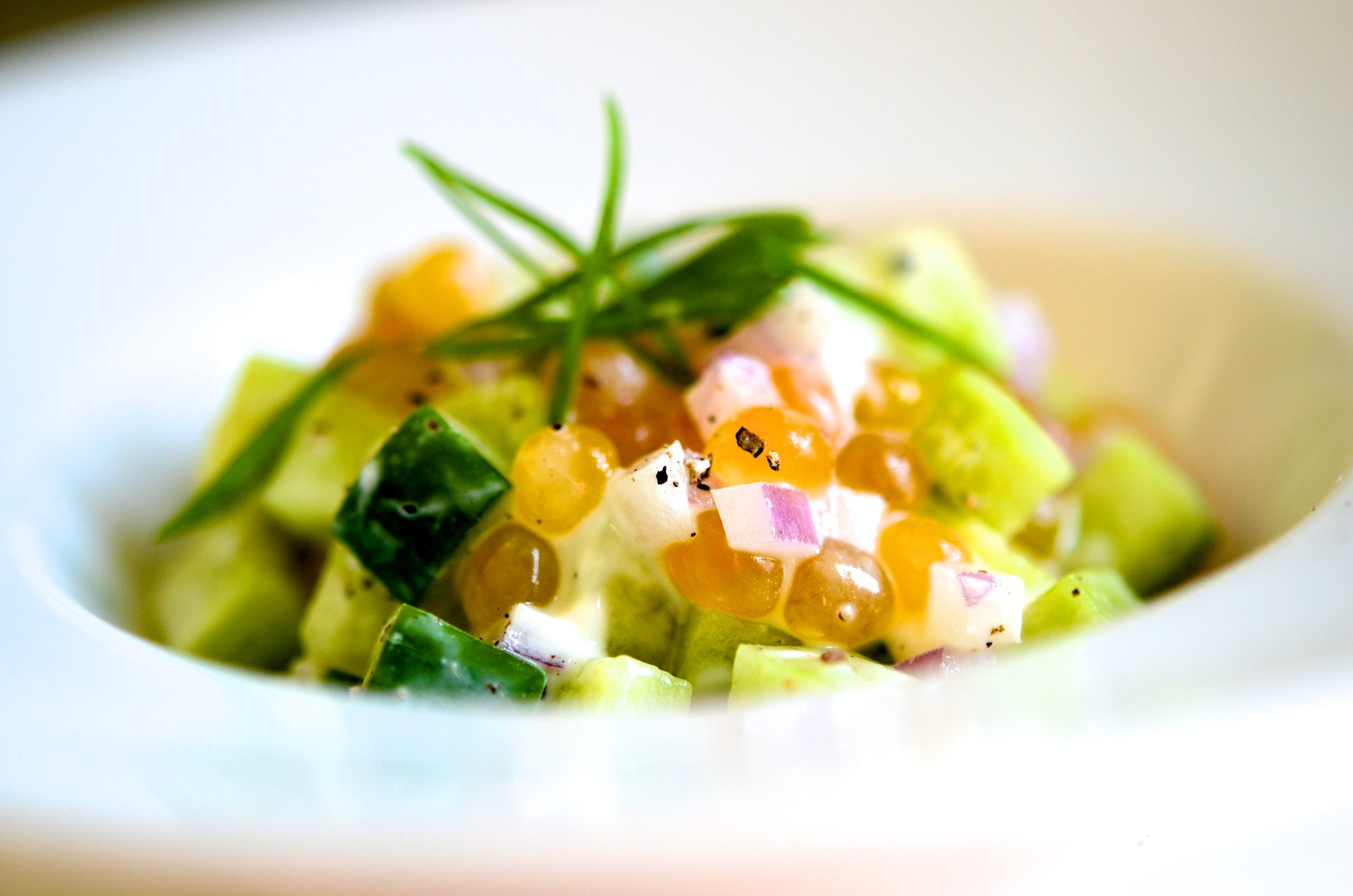 Salmon Roe and Cucumber Salad