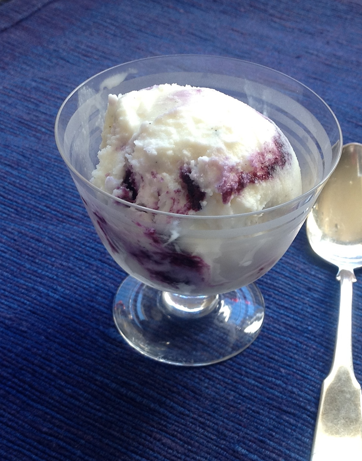 Nutmeg-Scented Blueberry Swirl Ice Cream