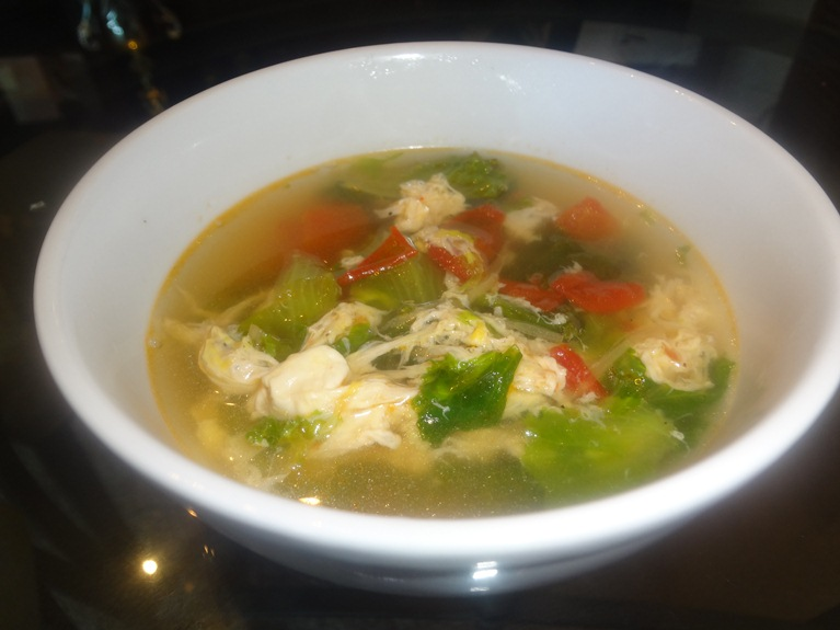 Lettuce Tomato and Egg Drop Soup