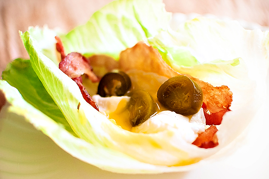 Bacon, Poached Egg, &amp; Jalapeno Lettuce Wraps