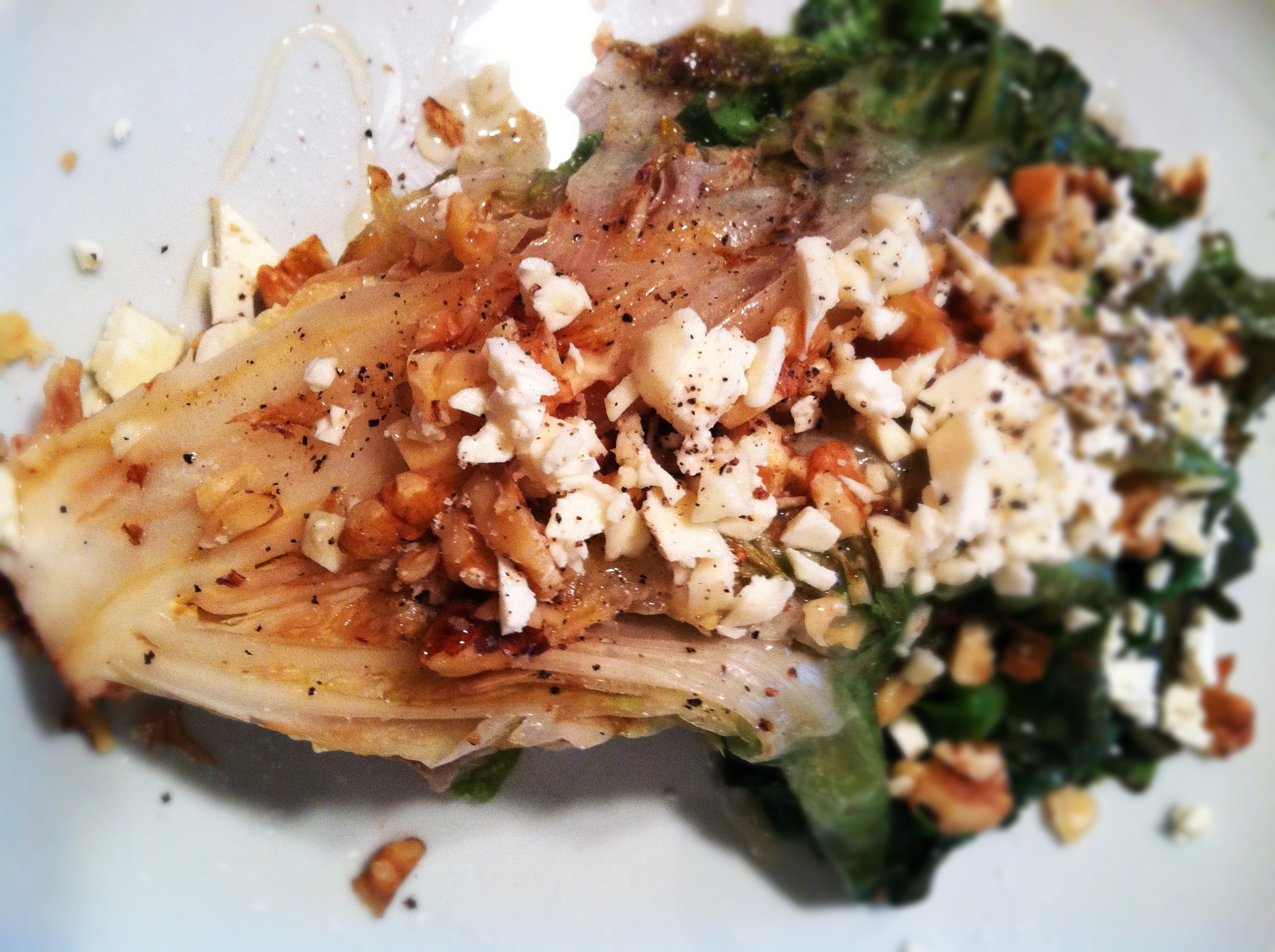 Wilted Escarole with Feta, Walnuts, and Honey