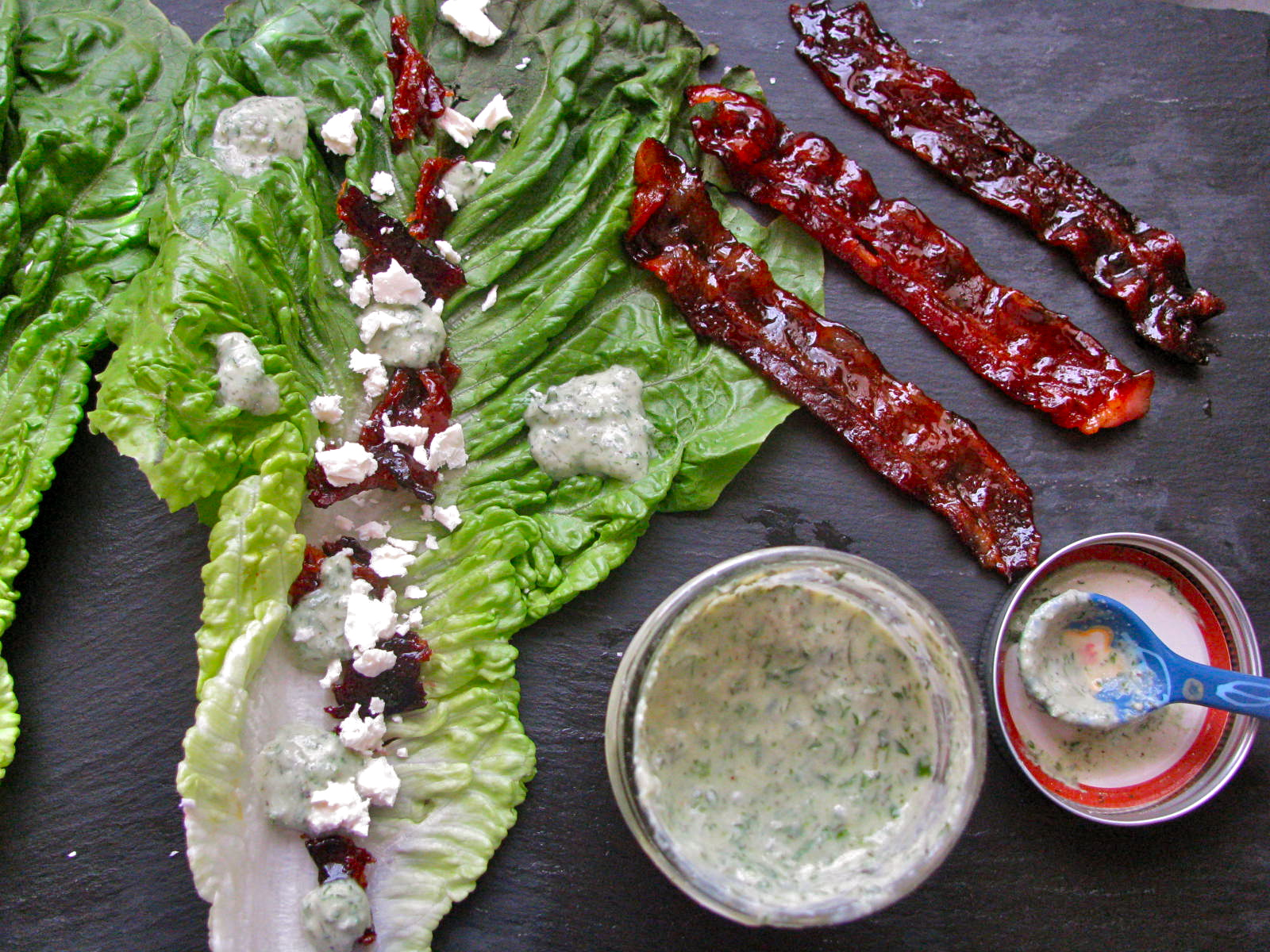 Simple Romaine Salad, with Greek Yogurt Ranch Dressing, Candied Bacon, and Feta