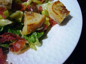 Fridge Crisper Salad with Grilled Cheese Croutons