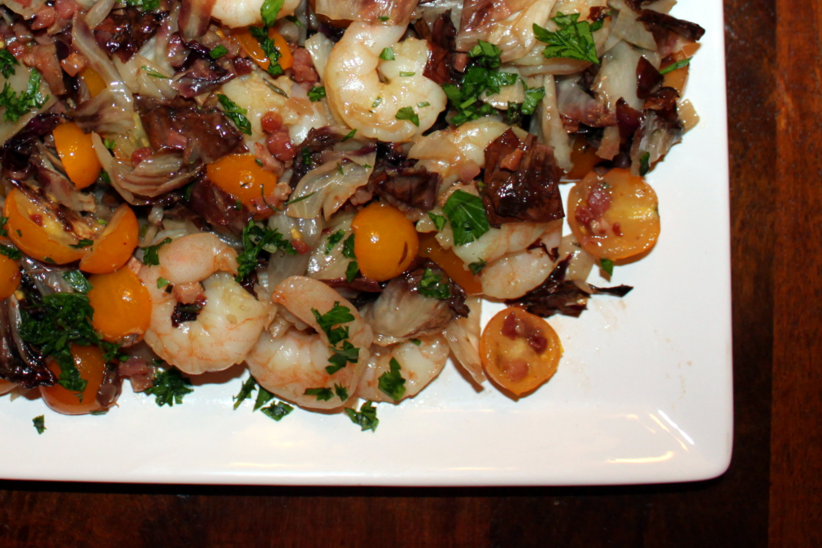 Roasted Radicchio and Shrimp with Warm Bacon Vinaigrette