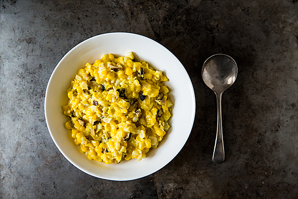 Kevin Gillespie&#x27;s Creamless Creamed Corn with Mushrooms and Lemon