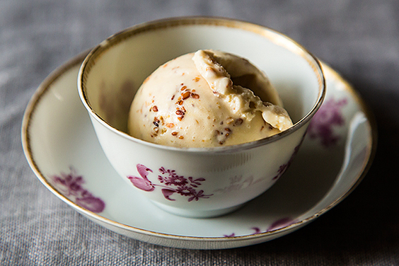 Ginger Ice Cream with Honey-Sesame Brittle
