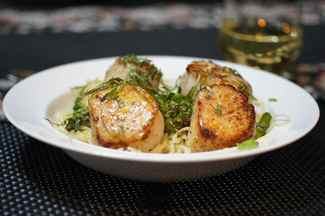 Scallops & Asparagus with Capelli d'angelo & Minneola Tangelo Butter Cream Sauce