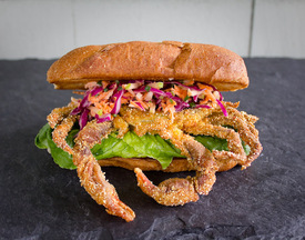Cornmeal Crusted Soft Shell Crab with Buttermilk Apple Chive Slaw