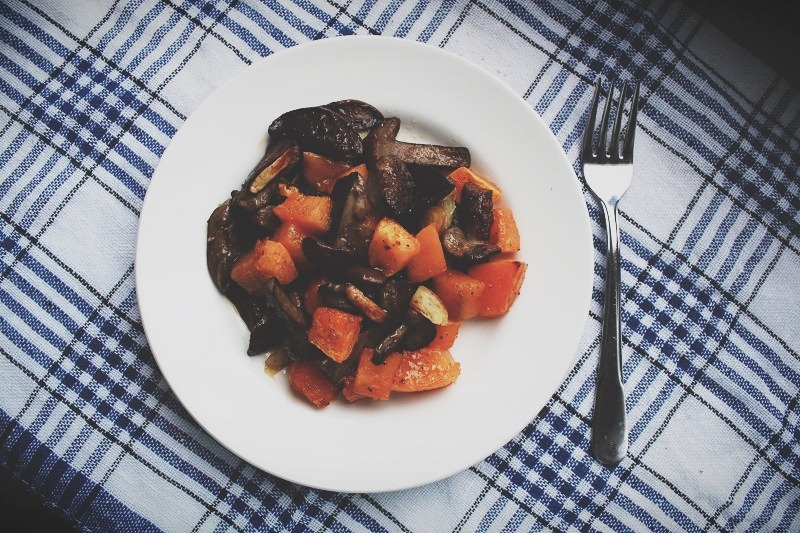 Rustic Roasted Pumpkin and Mushrooms