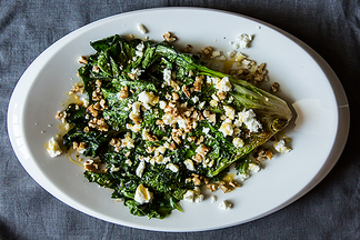 Wilted Escarole with Feta, Walnuts and Honey