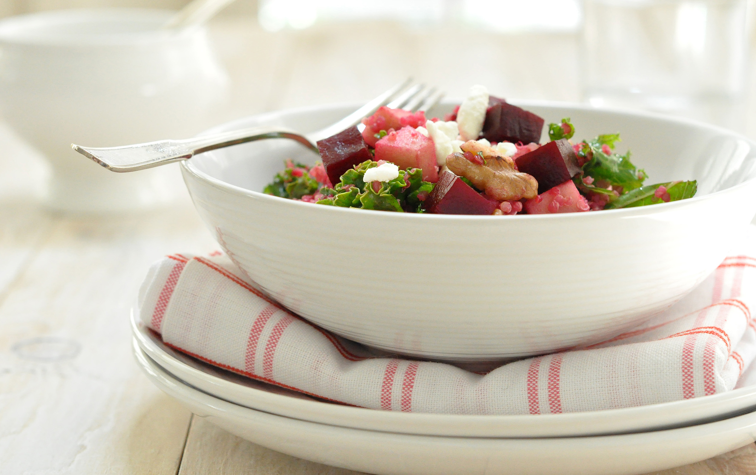 Beet Salad with Apple, Quinoa, Kale and Walnuts