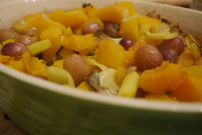 Roasted Butternut Squash with Leeks, Sage and Grapes