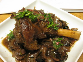 Lamb Shanks with Melted Grapes and Grape Gremolata