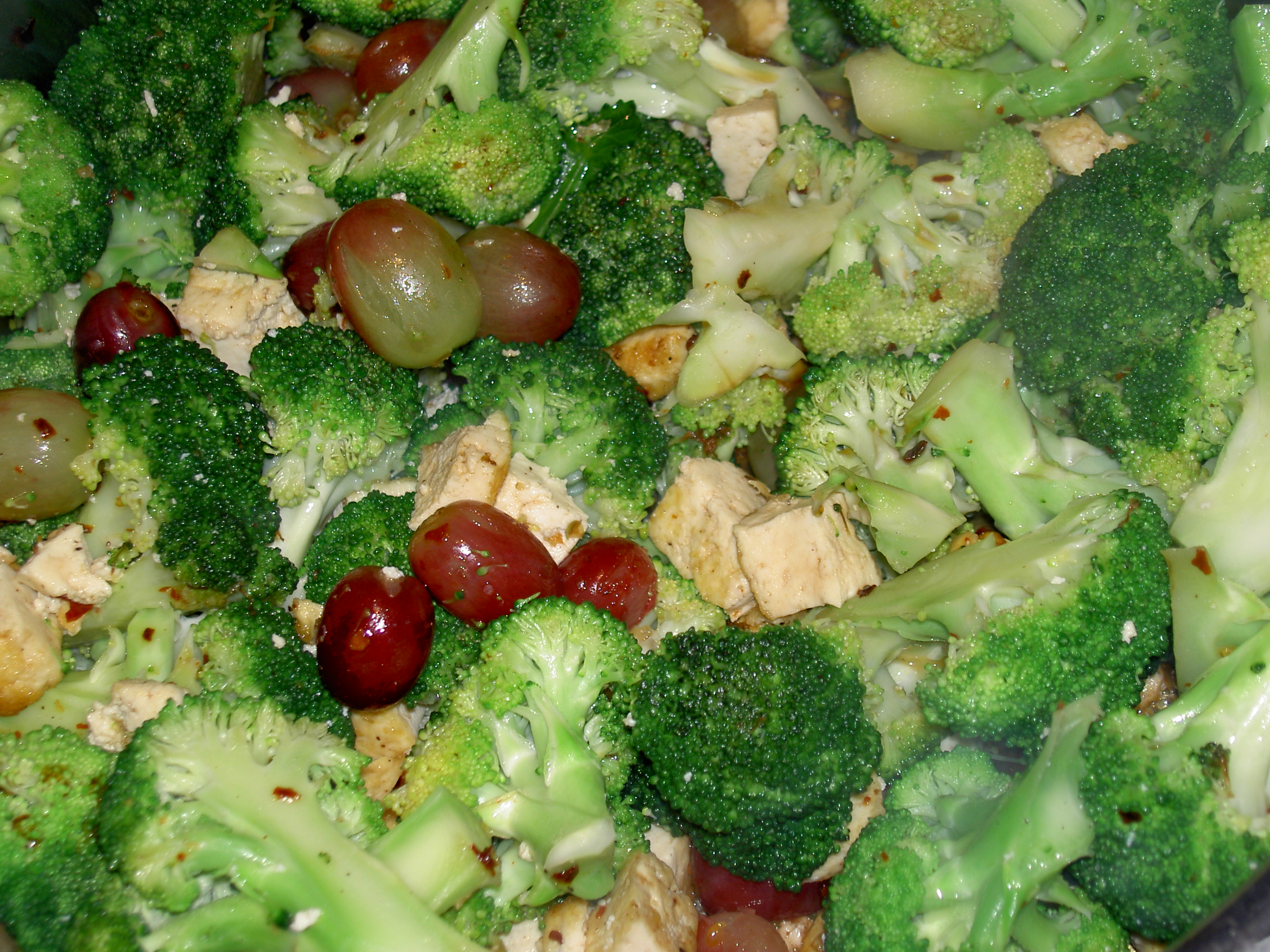 Broccoli,Tofu, and Grape Sautee