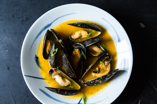 Mussels in a Yellow Tomato Lemongrass Broth