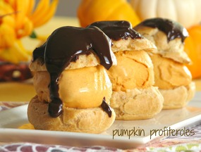 Pumpkin and Chocolate Profiteroles