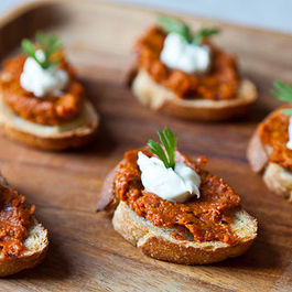 Roasted Carrot Harissa and Crème Fraiche Crostini