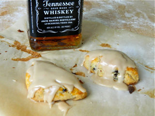 Spiked Cherry Scones with Bourbon Vanilla Glaze