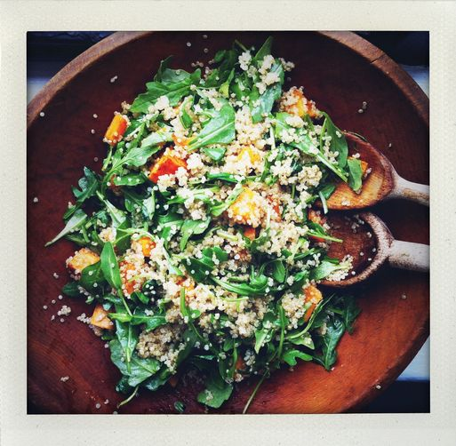 Roasted Sweet Potato, Quinoa and Arugula Salad