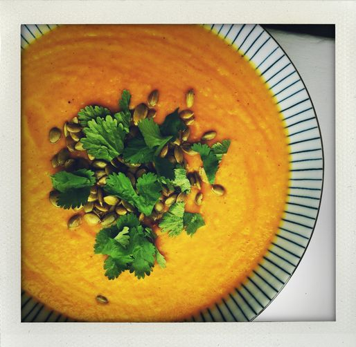 Roasted, Curried Sweet Potato Soup