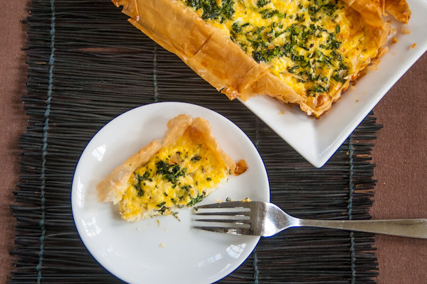 Spinach and Three Cheese Pie