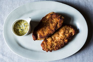 Turkey Schnitzel with Leeks and Butter Sage Sauce