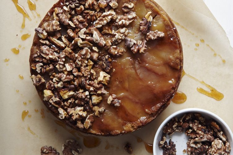 Brown Sugar Apple Upside Down Cake with Apple Cider Caramel and Spiced Walnuts