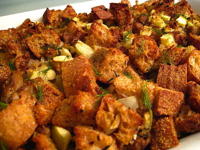 Lightened Up Holiday Stuffing with Fennel, Apple &amp; Turkey Sausage