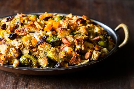 Butternut Squash,Brussels Sprout,and Bread Stuffing with Apples