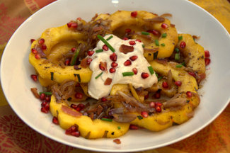 Roasted Delicata with Bacon-Shallots and Pomegranate