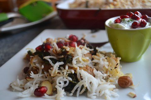 Kale Biryani with Garbanzo & Pomegranate (Crowd sourced)