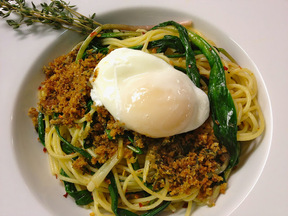 Spaghetti with Ramps, Breadcrumbs, & Poached Egg