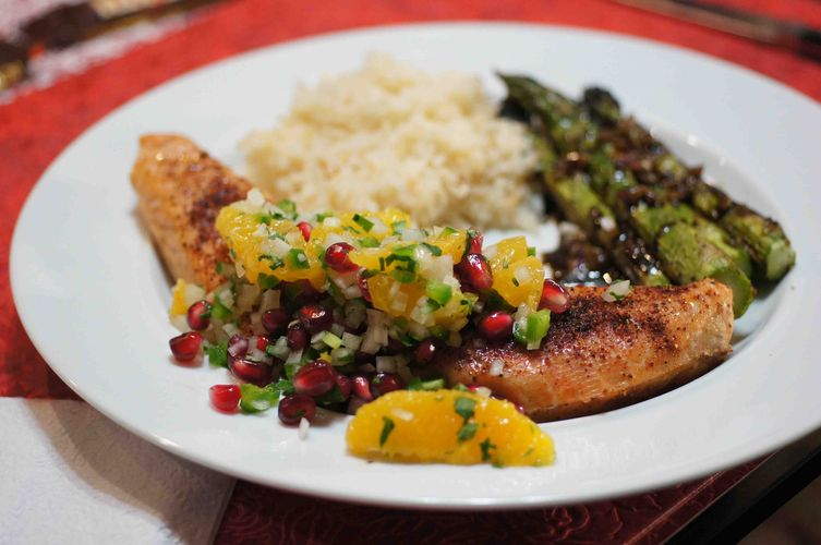 Grilled Salmon with Orange &amp; Pomegranate Salsa